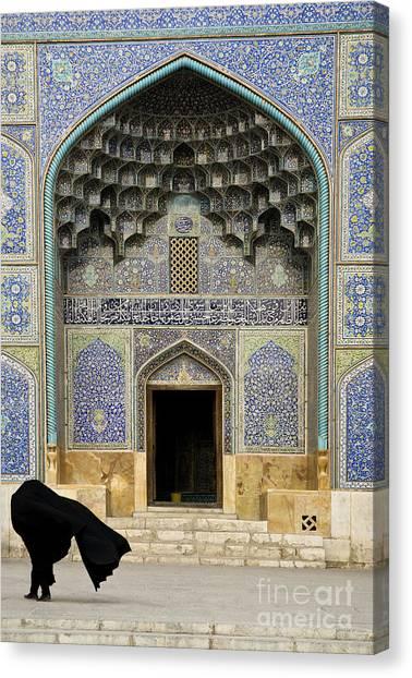 Mosque Door In Isfahan Esfahan Iran Canvas Print