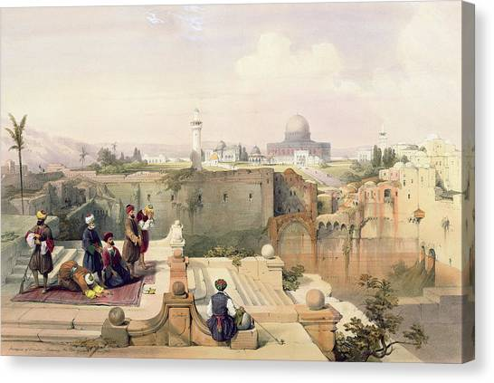 Cathedral Rock Canvas Print - Mosque Of Omar Showing The Site Of The Temple, Plate 8 From Volume I Of The Holy Land  by David Roberts