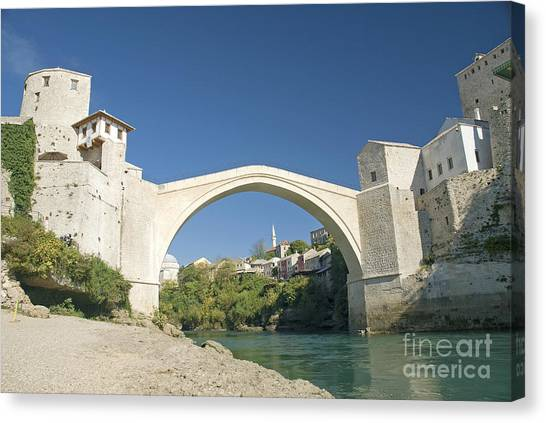 Mostar Bridge In Bosnia Canvas Print