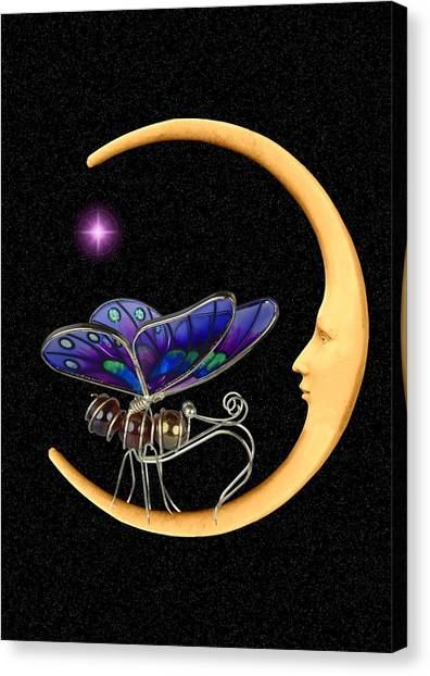 Moth On Moon Canvas Print