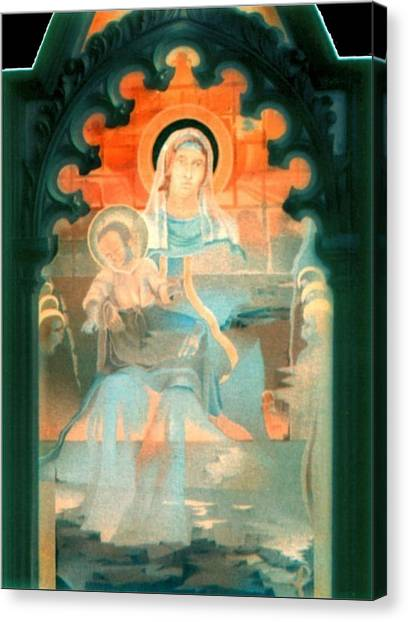 Mother And Child By Fabriano 1975 Canvas Print by Glenn Bautista