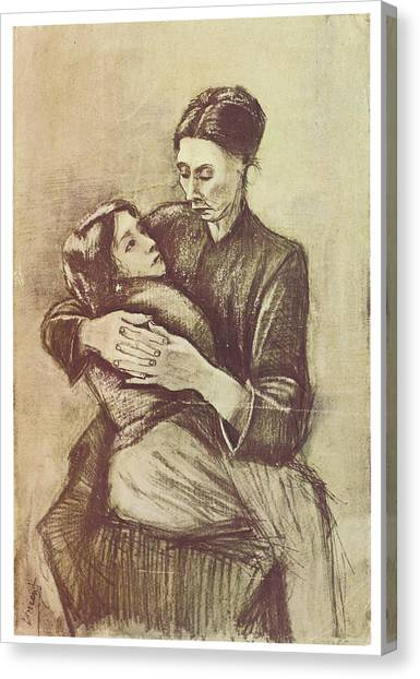 Mother And Child Canvas Print by Vincent Van Gogh