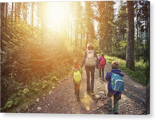 Mother And Kids Hiking In Sunny Forest Canvas Print by Imgorthand