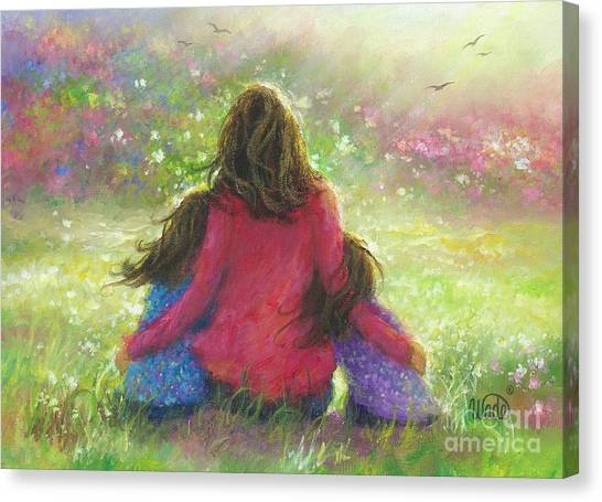 Lavendar Canvas Print - Mother And Two Daughters by Vickie Wade