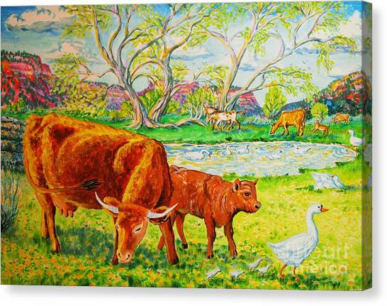 Mother Cow And Bull Calf Canvas Print by Annie Gibbons