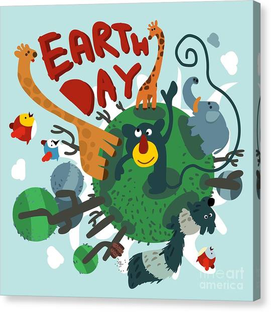 Primates Canvas Print - Mother Earth Day. Vector Illustration by Maraga