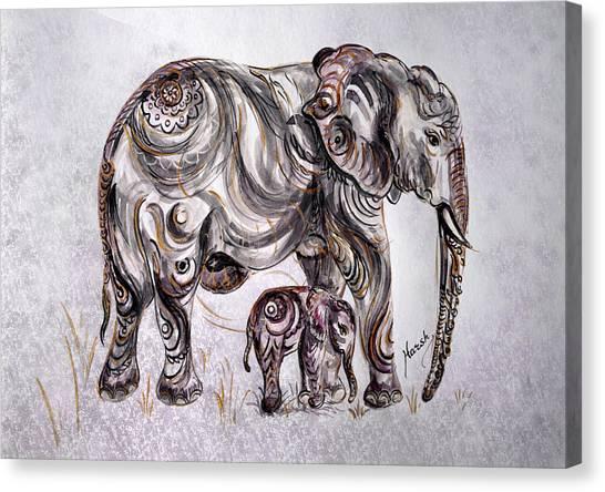 Mother Elephant Canvas Print