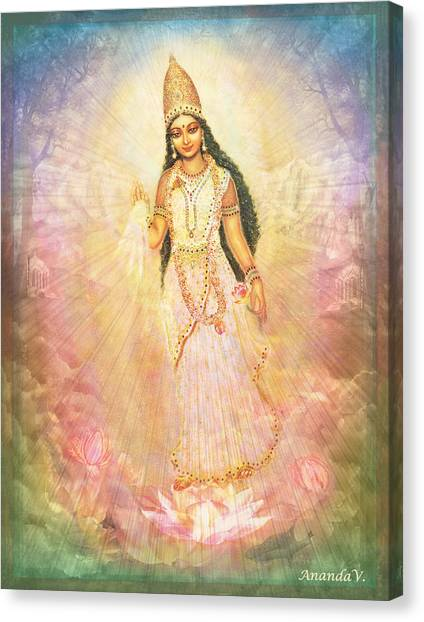 Mother Goddess In Rainbow Colours Canvas Print by Ananda Vdovic
