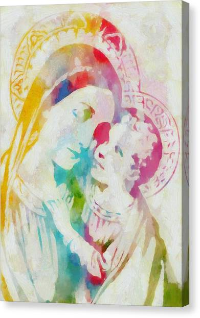 Communion Canvas Print - Mother Mary Watercolor by Dan Sproul
