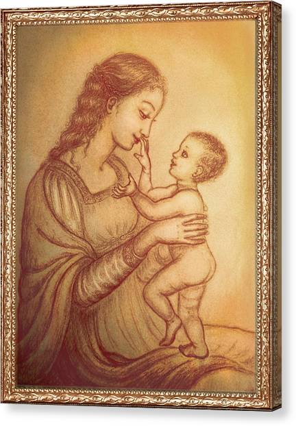 Rennaissance Art Canvas Print - Mother Playing With Her Child by Ananda Vdovic