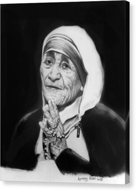 Nuns Canvas Print - Mother Teresa by Anthony Falbo
