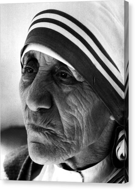 Nuns Canvas Print - Mother Teresa Close Up by Retro Images Archive