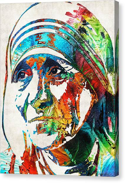 Charities Canvas Print - Mother Teresa Tribute By Sharon Cummings by Sharon Cummings