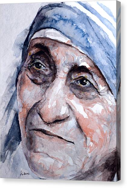 Mother Theresa Watercolor Canvas Print