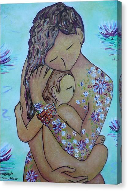 Motherhood Flowers All Over Canvas Print