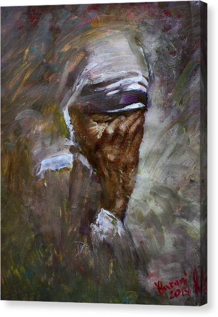 Pain Canvas Print - Mother's Pain by Ylli Haruni