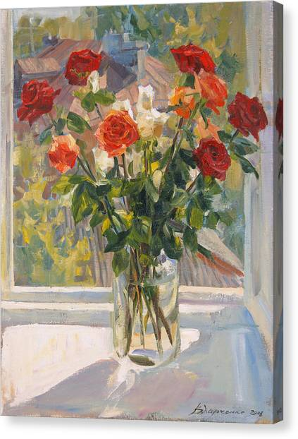 Mothers Roses Canvas Print by Victoria Kharchenko