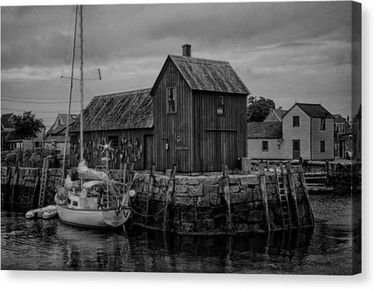 Rockport Canvas Print - Motif Number 1 - Rockport Harbor Bw by Stephen Stookey