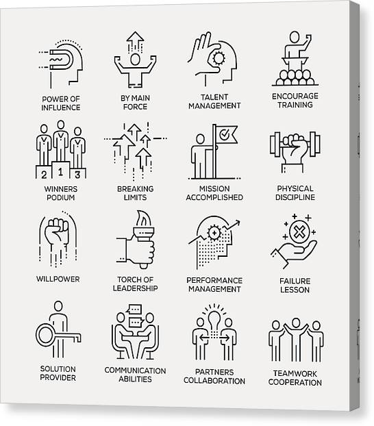 Motivation Icon Set - Line Series Canvas Print by Enis Aksoy