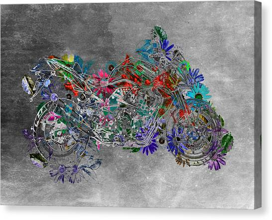 Floral Digital Art Canvas Print - Moto Art  Floral Sp01bb by Variance Collections