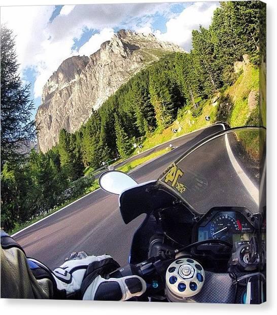 Biker Canvas Print - #moto #bikers #instamotorcycle by Adolini Primo