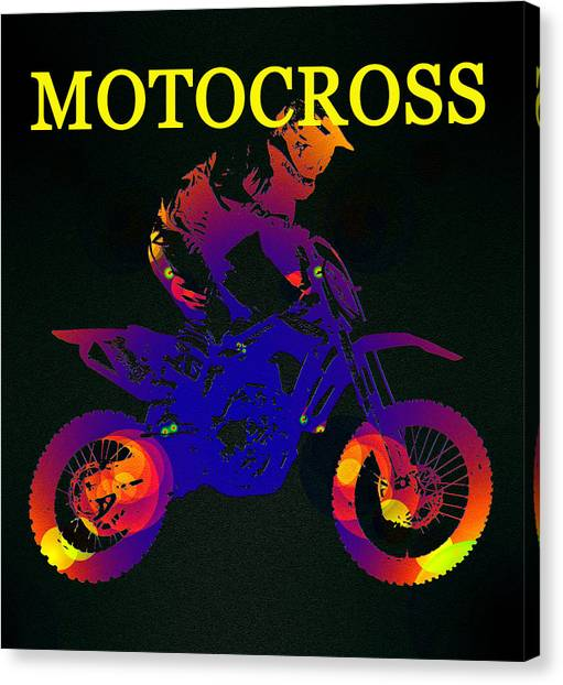 Dirt Bikes Canvas Print - Motocross Color Work A by David Lee Thompson