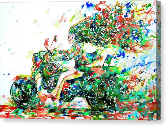 Suzuki Canvas Print - Motor Demon Running Fast by Fabrizio Cassetta