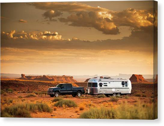 Offroading Canvas Print - Motor Home Camper On Vacation by Paul Giamou