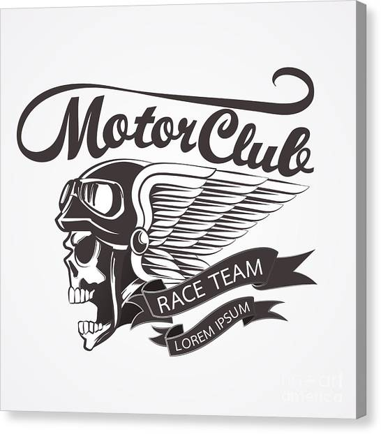 Speed Canvas Print - Motor Skull Crest Graphic. - Vector by Pand P Studio