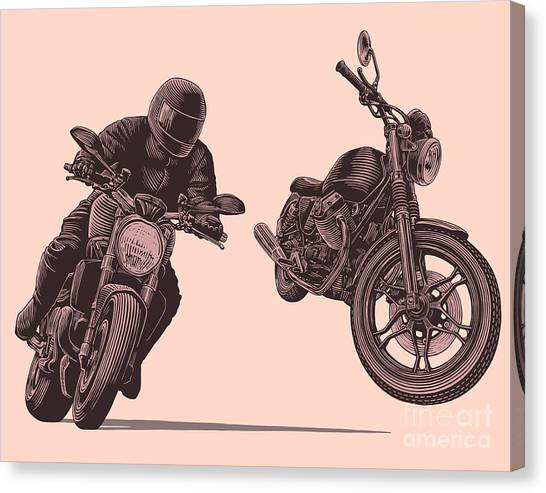 Motorcycle. Hand Drawn Engraving Canvas Print by Marzufello