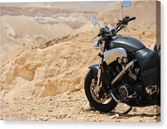 Motorcycle In A Desert Canvas Print