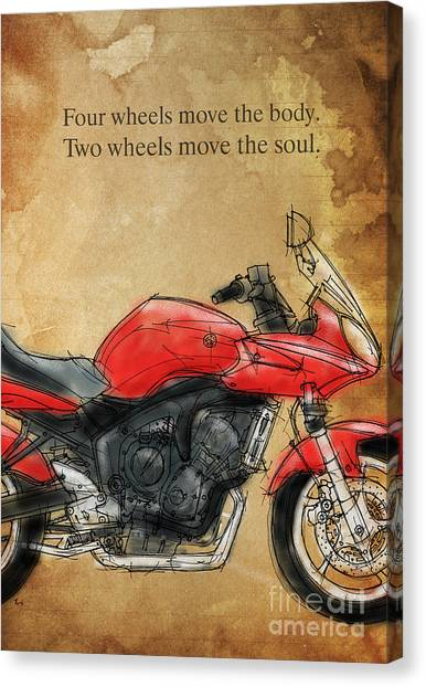 Yamaha Canvas Print - Motorcycle Quote by Drawspots Illustrations