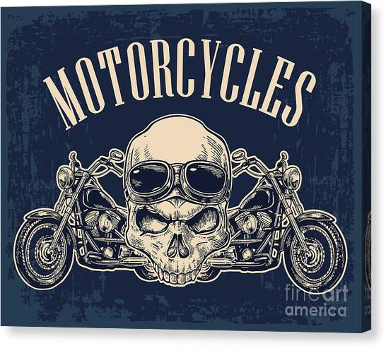 Engraving Canvas Print - Motorcycle Side View And Skull With by Morevector