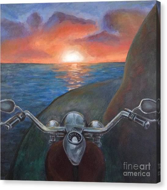 Motorcycle Sunset Canvas Print
