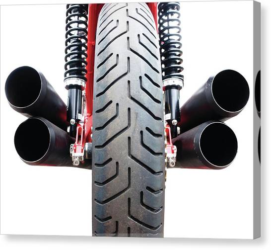 Mv Canvas Print - Motorcycle Wheel And Exhaust Pipes by Linda Wright