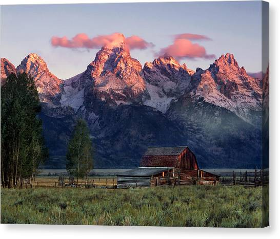 Mountain Sunrises Canvas Print - Moulton Barn by Leland D Howard
