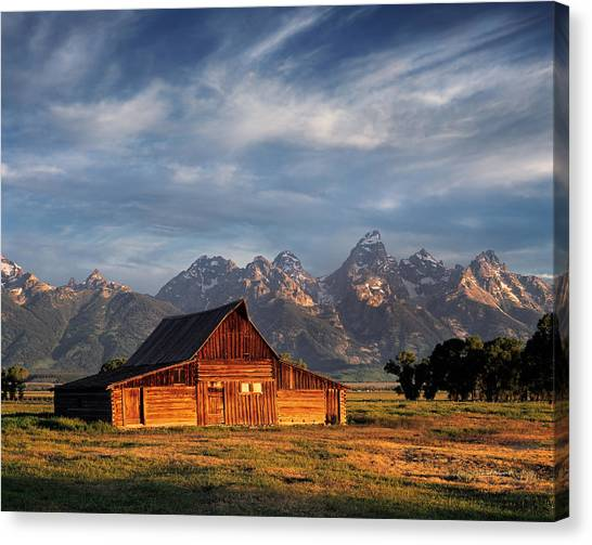 Teton Canvas Print - Moulton Barn Morning Light by Leland D Howard