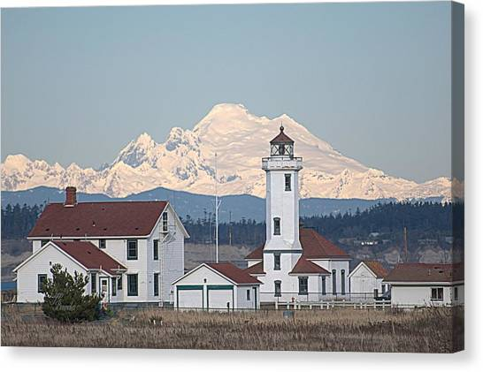Mount Baker And Point Wilson Light Station Canvas Print