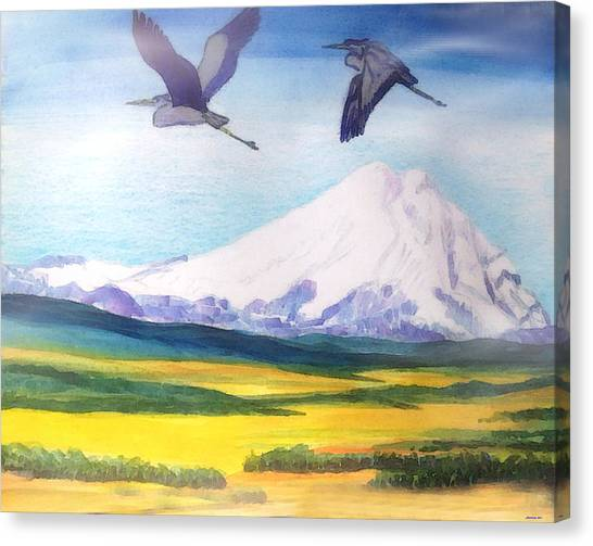 Mount Elbrus Watching Blue Herons Fly Over Sunflower Fields Canvas Print