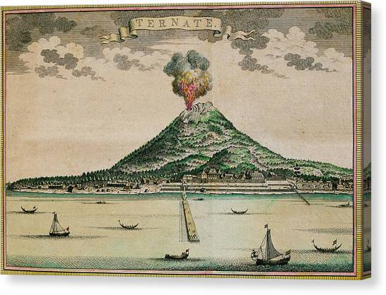 Mount Gamalama Volcano Erupting Canvas Print by George Bernard/science Photo Library