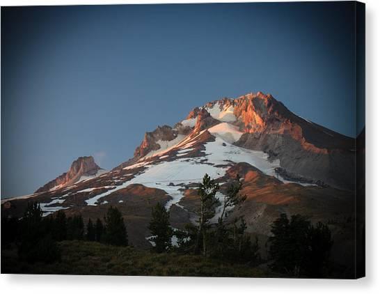 Mount Hood Summit In Warm Glow Canvas Print