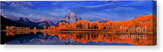 Mount Moran And Fall Color Grand Tetons Canvas Print