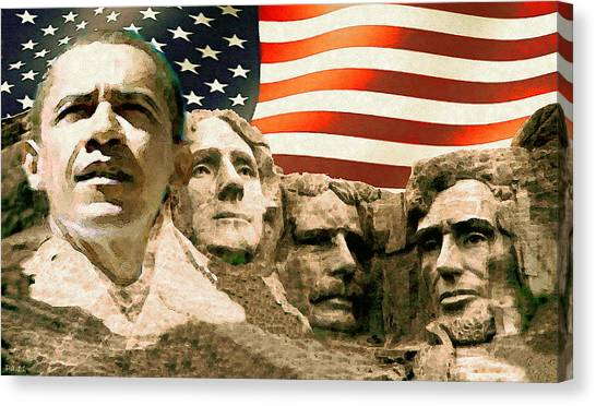 Obamacare Canvas Print - Barack Obama Mount Rushmore by Peter Potter