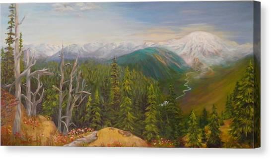 Mount Rainier  Early Morning Cascades Washington Canvas Print