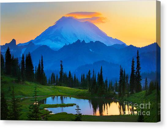 Washington Nationals Canvas Print - Mount Rainier Goodnight by Inge Johnsson