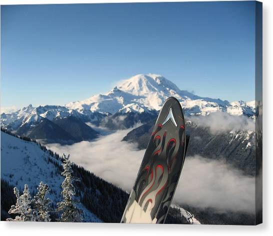 Mount Rainier Has Skis Canvas Print