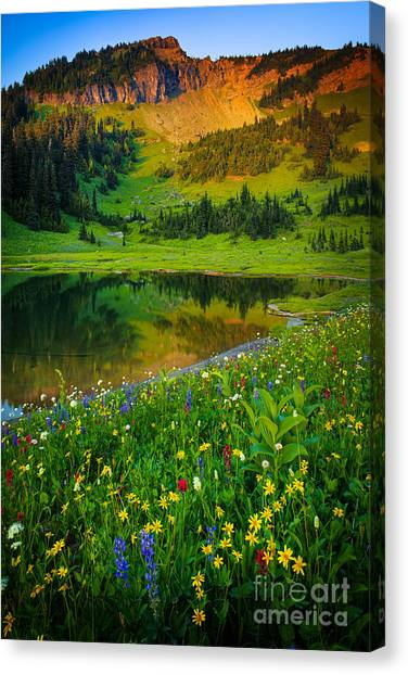 Mount Rainier Canvas Print - Mount Rainier Lake by Inge Johnsson
