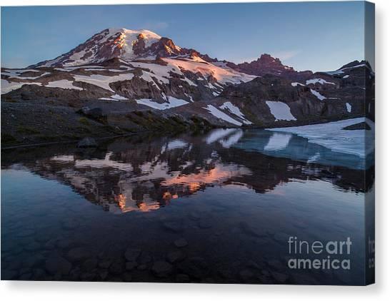 Washington Nationals Canvas Print - Mount Rainier Morning Light Glacial Tarn by Mike Reid