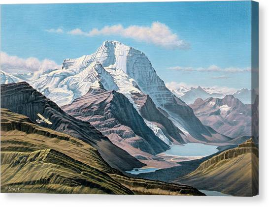 Aircraft Canvas Print - Mount Robson From The Air    by Paul Krapf