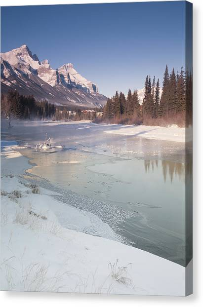 Mount Rundle And Creek In Winter  Canvas Print